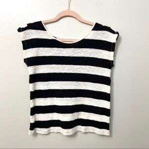LOFT Striped Boatneck Capsule Wardrobe Top Size S